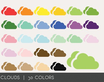 Clouds Digital Clipart, Clouds Graphics, Clouds PNG, Rainbow Clouds Digital