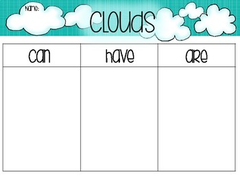 Clouds - Graphic Organizer Writing