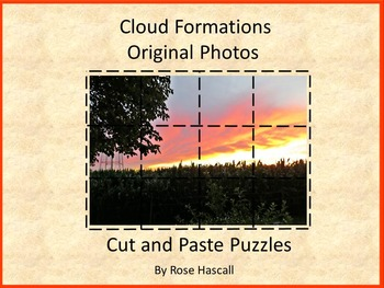 Clouds Original Photos Kindergarten, Science, Special Ed, Cut and Paste Puzzles