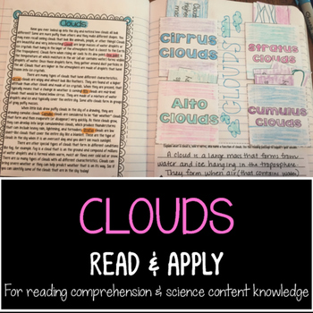 Clouds Reading Comprehension Interactive Notebook