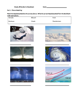 Clouds, Winds, and Stoms Vocabulary Quiz