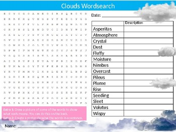 Clouds Wordsearch Sheet Starter Activity Keywords Cover Geography