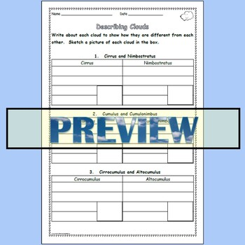 Clouds - Worksheets