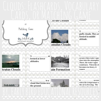 Clouds and Precipitation Review: Flashcards, Vocabulary Cards, or Matching Game