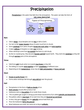 Clouds and Precipitation Study Guide 4th Grade Science
