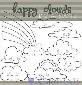 Clouds and Rainbow Black Line Art