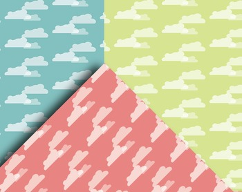 """Clouds and Stripes - Peaceful Patterns - 12, 12"""" Pattern Sheets - Printables"""