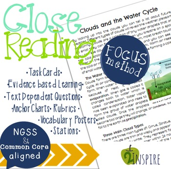Clouds and the Water Cycle Close Reading Evidence and Text Dependent Packet