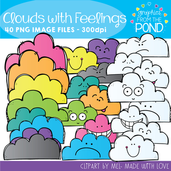 Clouds with Emotion / Feelings Clipart