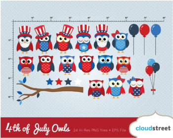 Cloudstreetlab: 4th of July Owls, independence day owl Clip Art