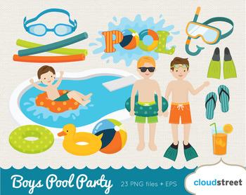 Cloudstreetlab: Boys Pool Party Summer Clip Art