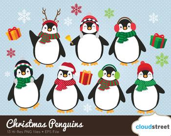 Cloudstreetlab: Christmas Penguins , Winter Cute Penguin Clip Art