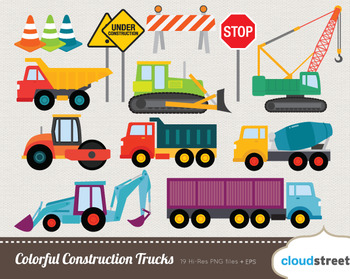 Cloudstreetlab: Colorful Construction Trucks Clip Art