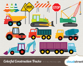 Cloudstreetlab: Colorful Construction Trucks Clip Art