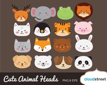 Cloudstreetlab: Cute Animal Heads Clip Art