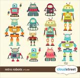 Cloudstreetlab: Cute Robots Clip Art