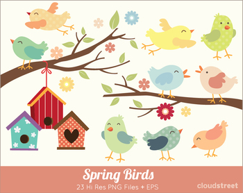 Cloudstreetlab: Cute Spring Birds Clip Art