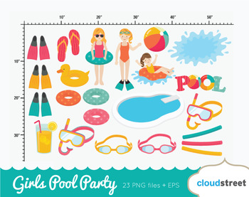 Cloudstreetlab: Girls Pool Party Summer Clip Art
