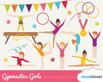 Cloudstreetlab: Gymnastics Girls Clip Art