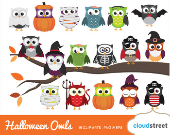 Cloudstreetlab Halloween Owls Cute Owl Clip Art