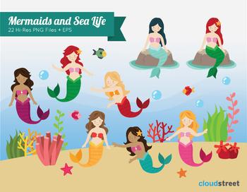 Cloudstreetlab: Mermaid and Sea Life Clip Art