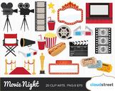 Cloudstreetlab: Movie Night, Cinema, Film, Movie Award Clip Art