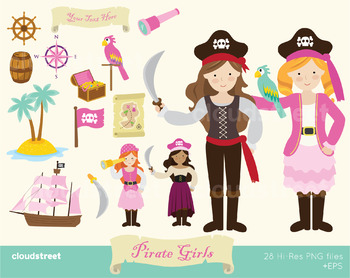 Cloudstreetlab: Pirate Girls Clip Art
