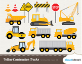 Cloudstreetlab: Yellow Construction Trucks Clip Art