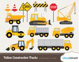 Cloudstreetlab: Yellow Construction Trucks Clip Art