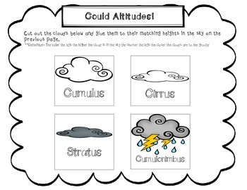Cloud/weather worksheets