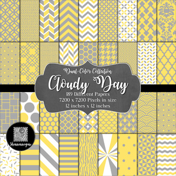 12x12 Digital Paper - 2-Color Collection: Cloudy Day (600dpi)