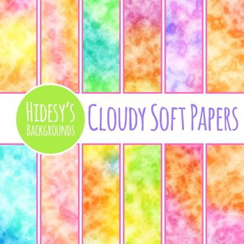 Cloudy Dreams Digital Paper / Background Clip Art Set for Commercial Use