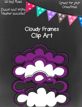 Cloudy Frames- 25 png Files (Black and White Master Included)