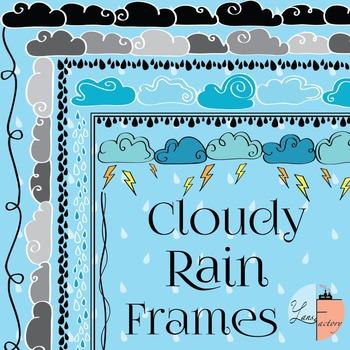 Spring Cloudy Rain Frames / Borders - 6 Designs