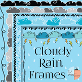 Spring Cloudy Rain Frames / Borders - 6 Designs