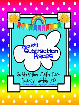 Math Fact Fluency Subtraction Within 20:  Cloudy Subtraction Races