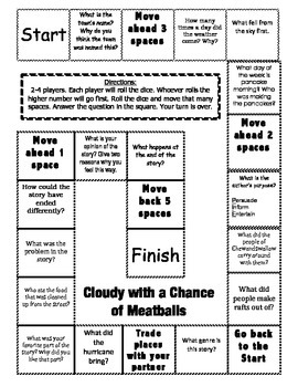 """""""Cloudy With A Chance of Meatballs"""" Comprehension Game Board"""