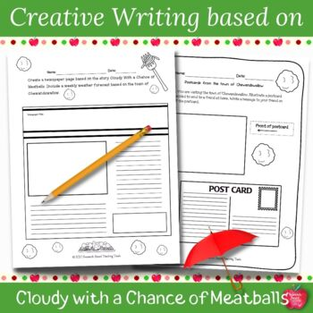 Cloudy With A Chance Of Meatballs Literacy Unit Tpt