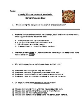 Cloudy With a Chance of Meatballs Quiz