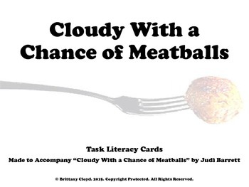 Cloudy With a Chance of Meatballs Task Literacy Reading Center Cards