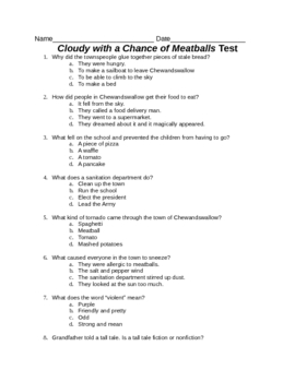 Cloudy With a Chance of Meatballs Test