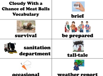 Cloudy With a Chance of Meatballs Vocabulary Visuals (for ELLs)