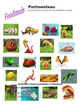 Cloudy with a Chance of Meatballs 2 - Portmanteau worksheet