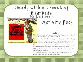 Cloudy with a Chance of Meatballs Activity Pack (by Judi Bennett)