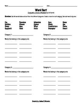Cloudy with a Chance of Meatballs No Prep Read-Aloud Literacy Guide