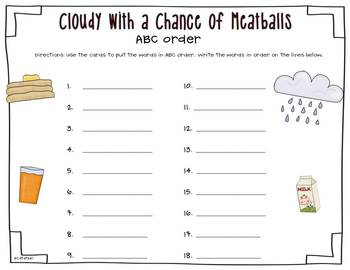 Cloudy with a Chance of Meatballs {Literature & Literacy Mini Unit}