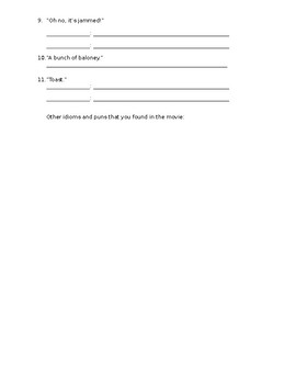 Cloudy with a Chance of Meatballs 2 - Puns worksheet