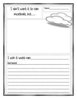 Cloudy with a Chance of Meatballs Writing Activity