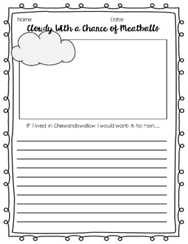 Cloudy with a Chance of Meatballs Writing Prompt FREEBIE