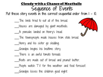 Cloudy with a Chance of Meatballs by Judi Barrett:  A Complete Literature Study!